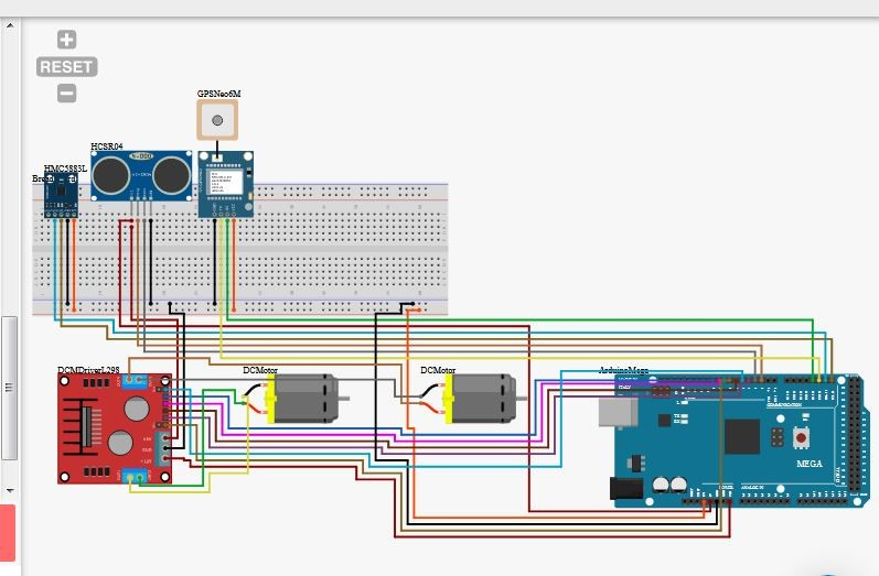 circuit diagram of GPS guided robot, GPS guided Robot using arduino